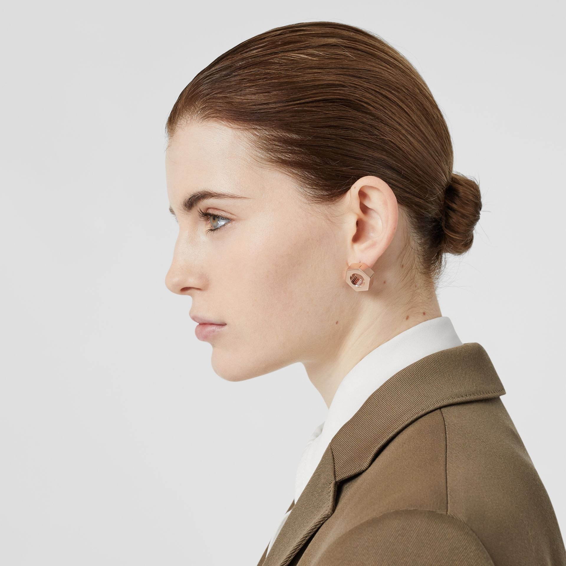 Rose Gold-plated Nut Earrings - Women | Burberry Singapore - gallery image 2
