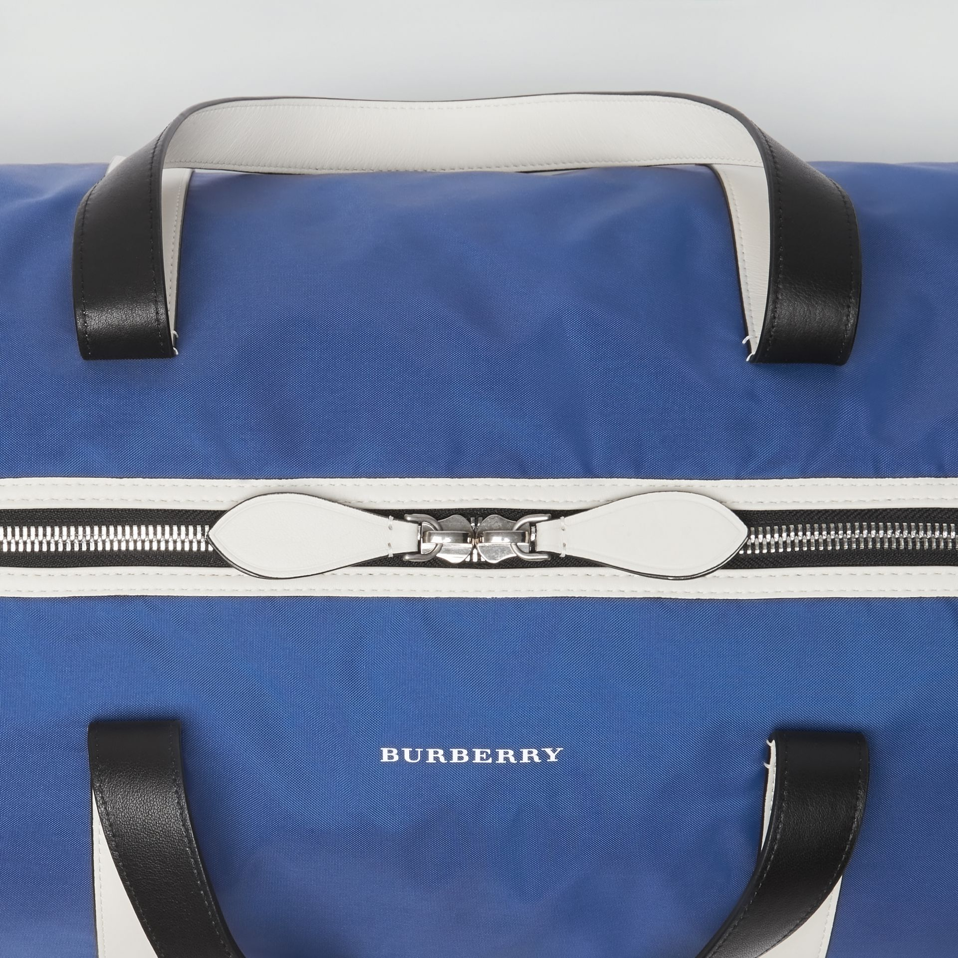 Large Colour Block Vintage Check Barrel Bag in Dark Canvas Blue - Men | Burberry Singapore - gallery image 1