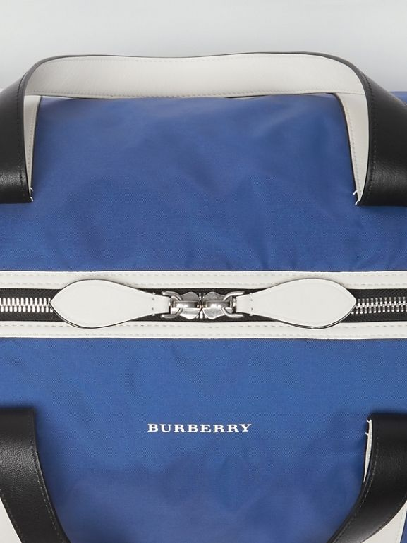 Large Colour Block Vintage Check Barrel Bag in Dark Canvas Blue - Men | Burberry Singapore - cell image 1