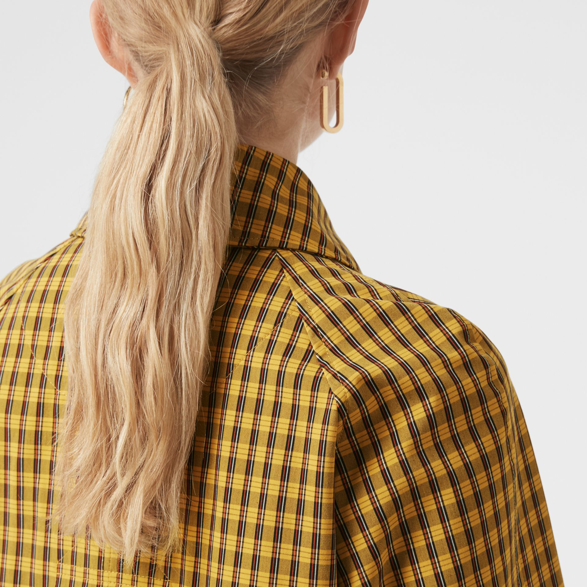 Detachable Hood Check Cotton Car Coat in Ochre Yellow - Women | Burberry Canada - gallery image 1