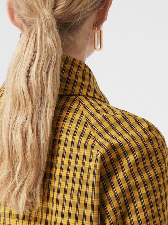 Detachable Hood Check Oversized Car Coat in Ochre Yellow - Women | Burberry - cell image 1