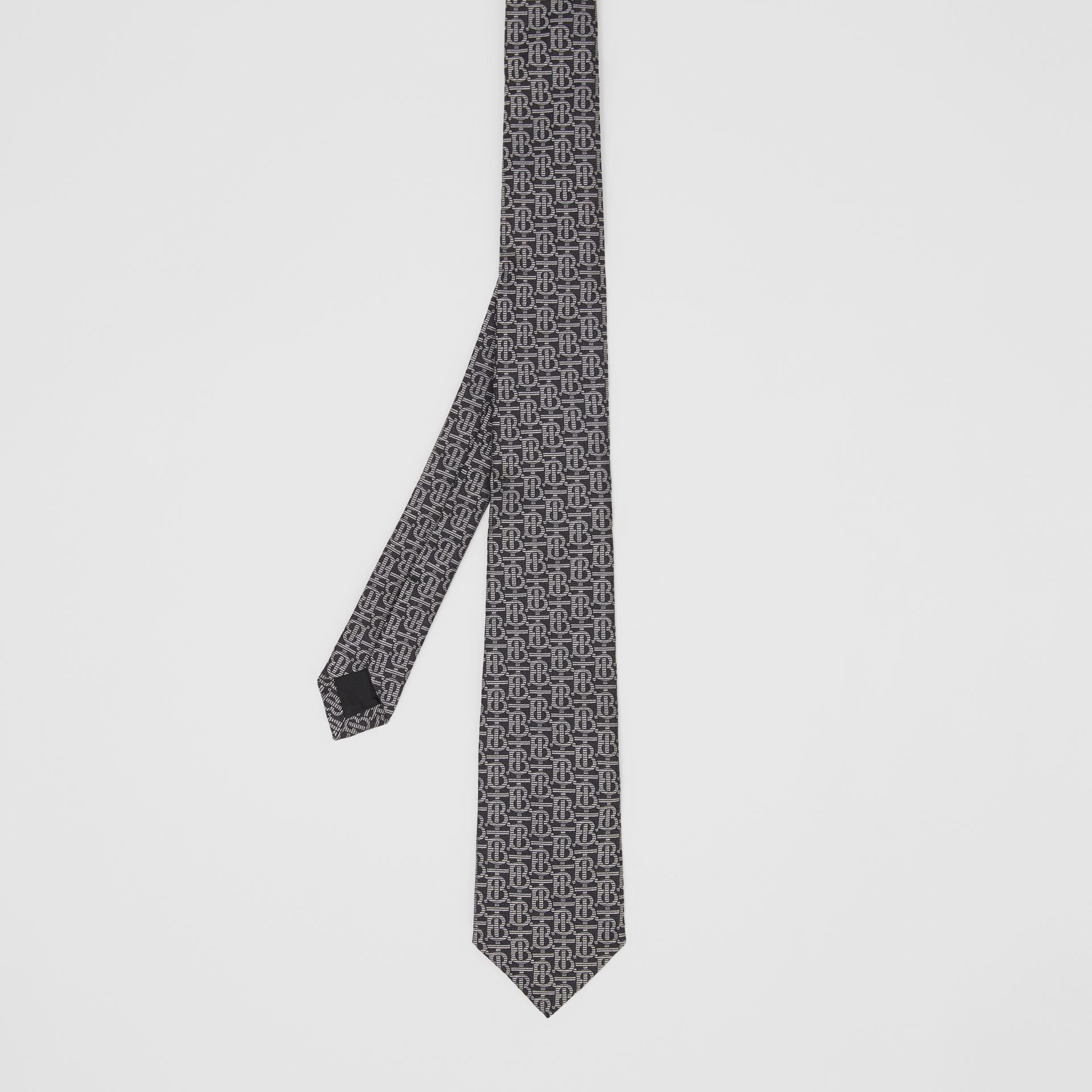 Classic Cut Monogram Silk Jacquard Tie in Mid Grey - Men | Burberry Singapore - gallery image 4