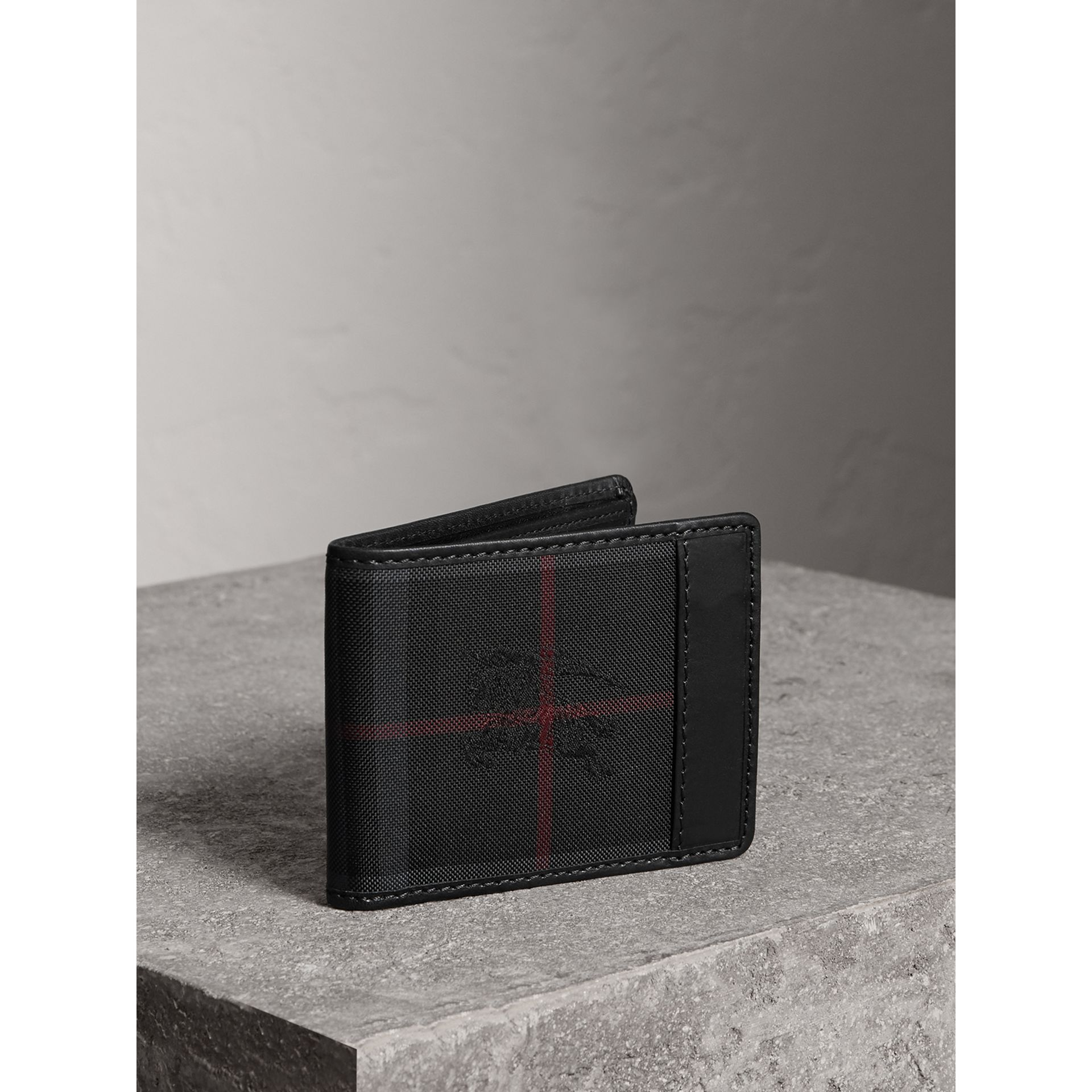 Horseferry Check Wallet in Charcoal/black - Men | Burberry Australia - gallery image 1