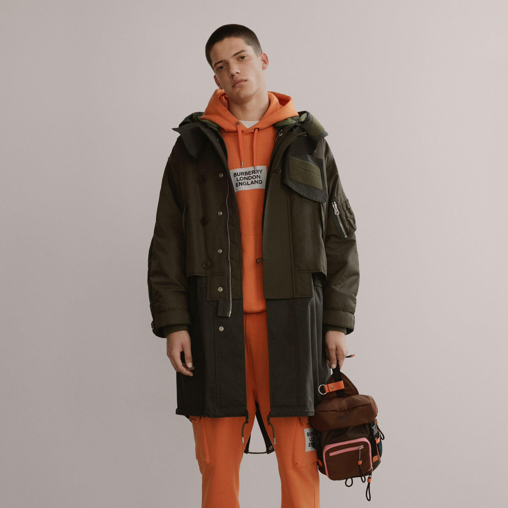 Logo Print Cotton Hoodie in Bright Orange - Men | Burberry - gallery image 1