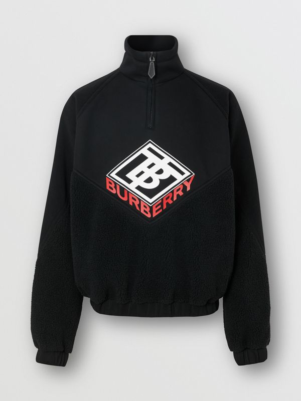 Logo Graphic Neoprene Funnel Neck Track Top in Black - Men | Burberry - cell image 3