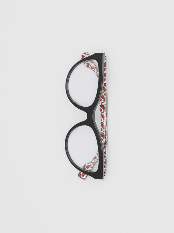 Monogram Print Detail Cat-eye Optical Frames in Black/vermilion - Women | Burberry Canada - cell image 2