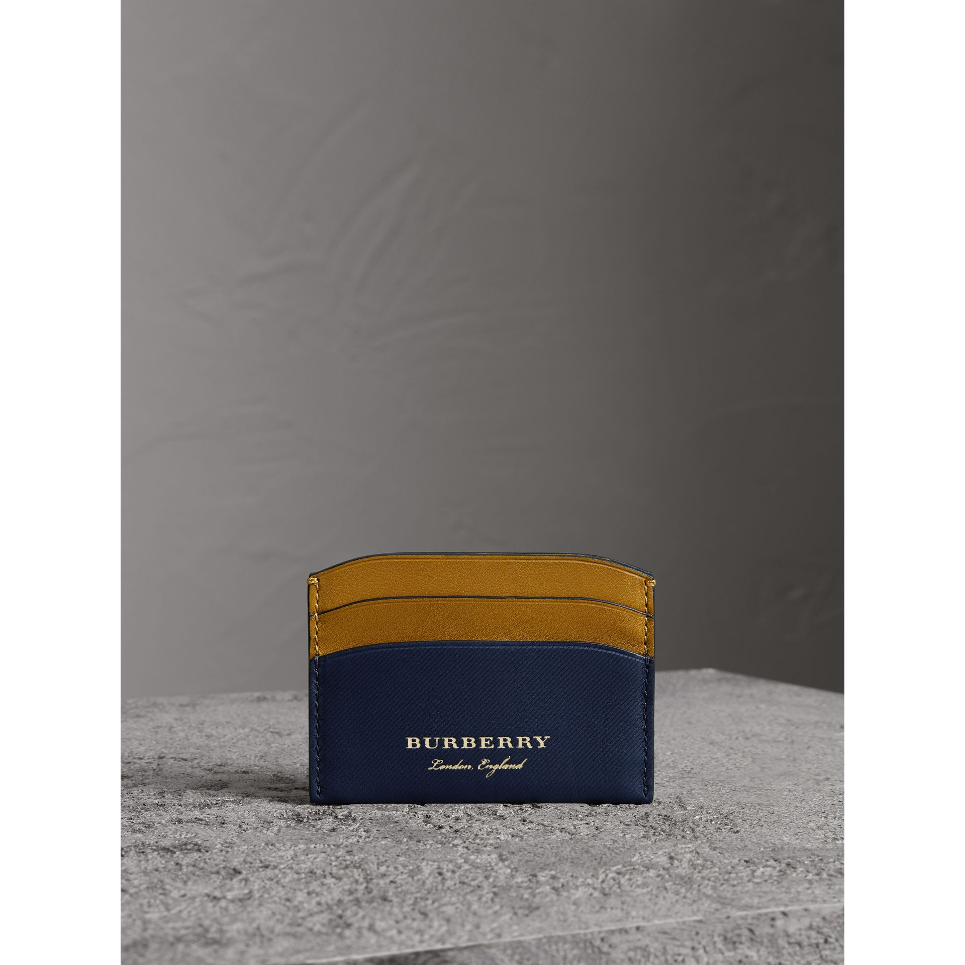 Two-tone Trench Leather Card Case in Ink Blue/ochre Yellow - Women | Burberry - gallery image 4