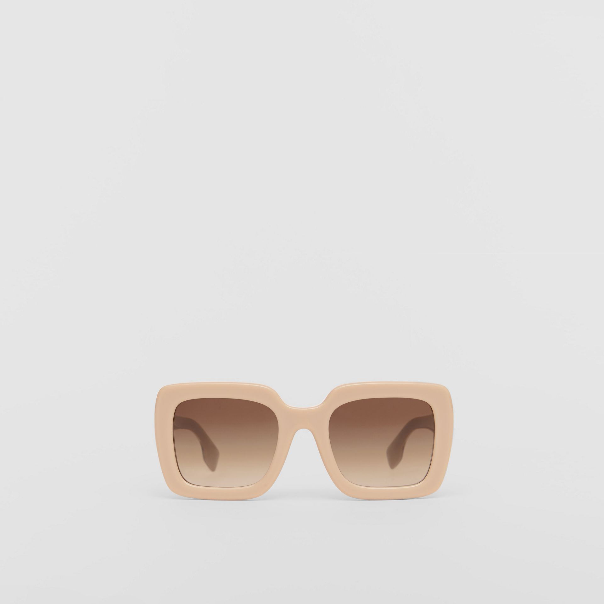 Oversized Square Frame Sunglasses in Honey - Women | Burberry - gallery image 0