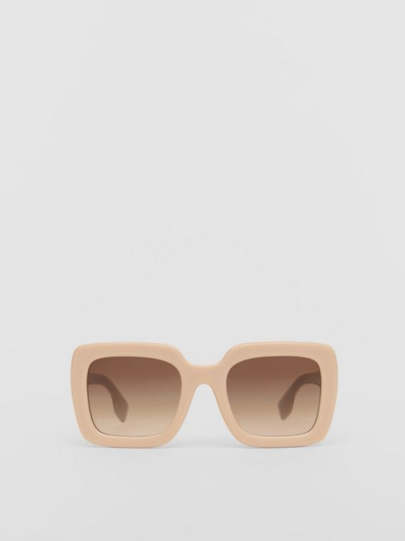 Extragroße Sonnenbrille mit eckigem Gestell (Honiggelb)