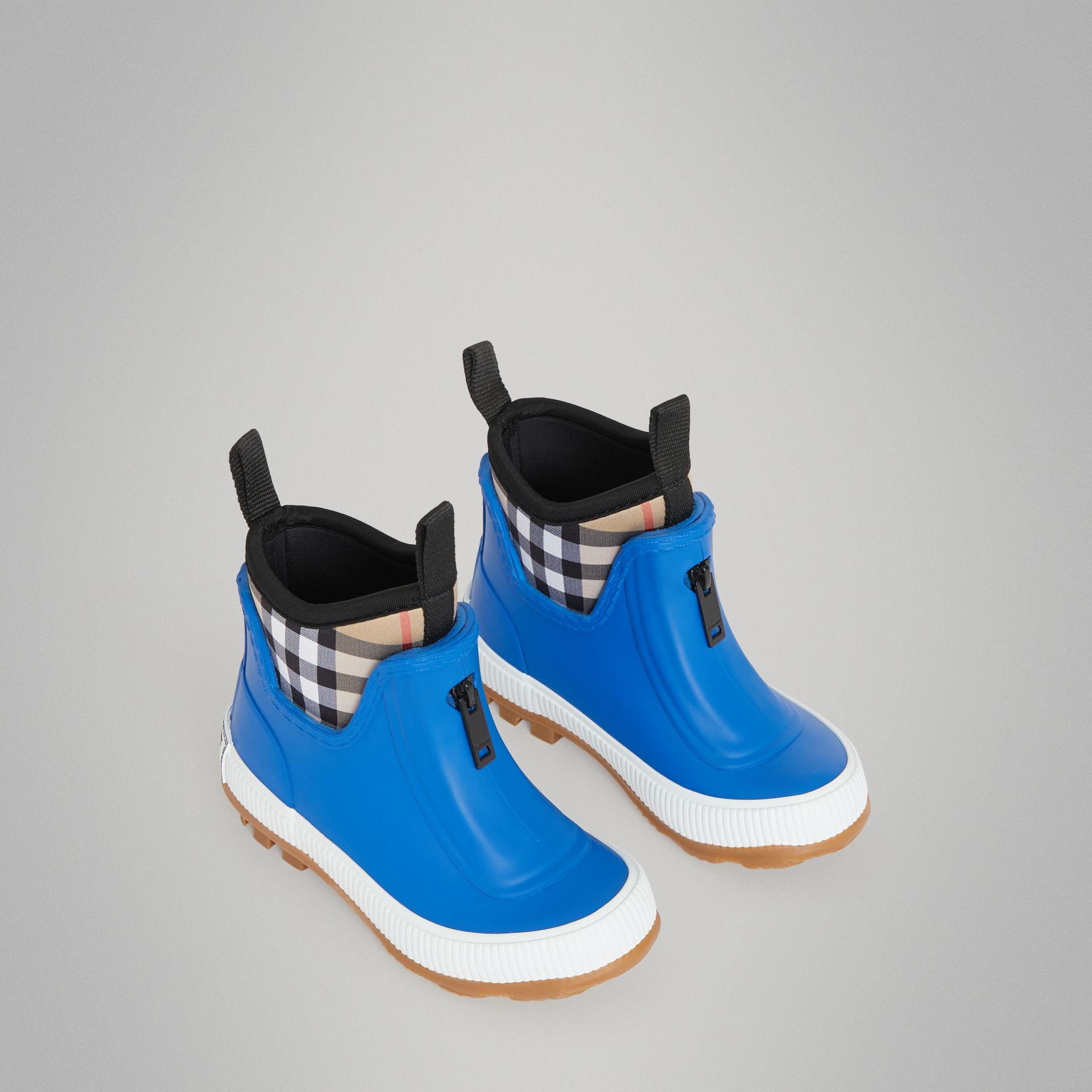 Vintage Check Neoprene and Rubber Rain Boots in Bright Canvas Blue - Children | Burberry - gallery image 0