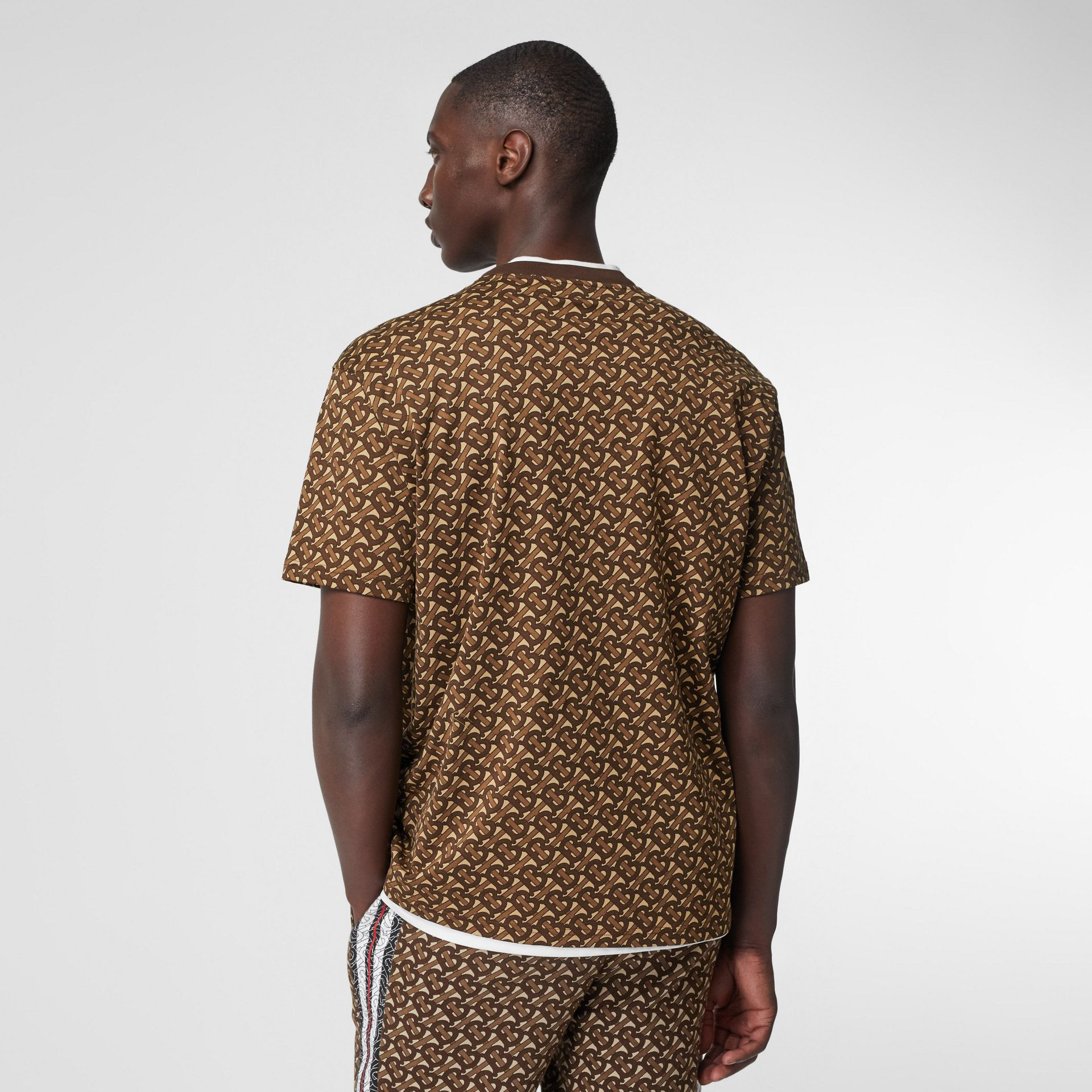 Monogram Stripe Print Cotton T-shirt in Bridle Brown - Men | Burberry - gallery image 2