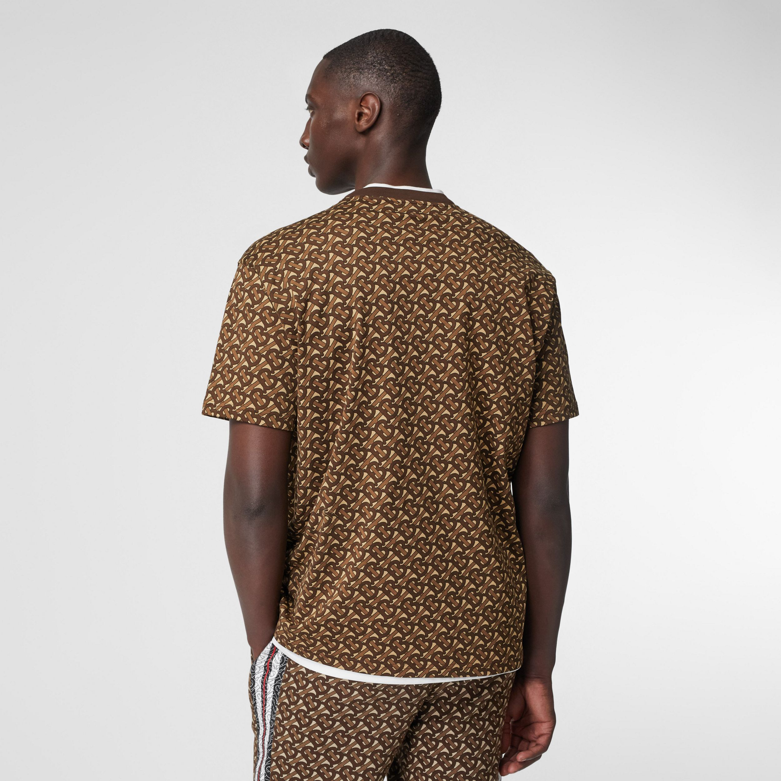 Monogram Stripe Print Cotton T-shirt in Bridle Brown - Men | Burberry - 3