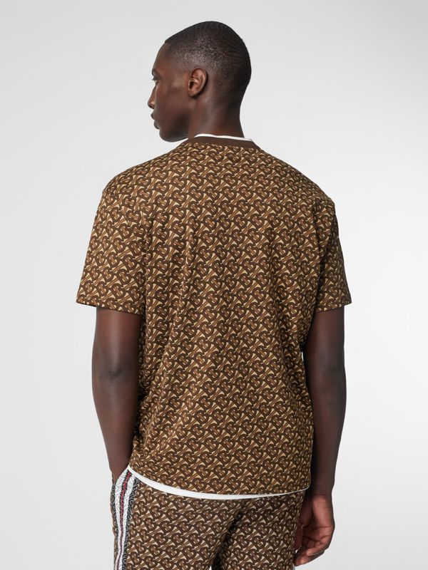 Monogram Stripe Print Cotton T-shirt in Bridle Brown - Men | Burberry - cell image 2