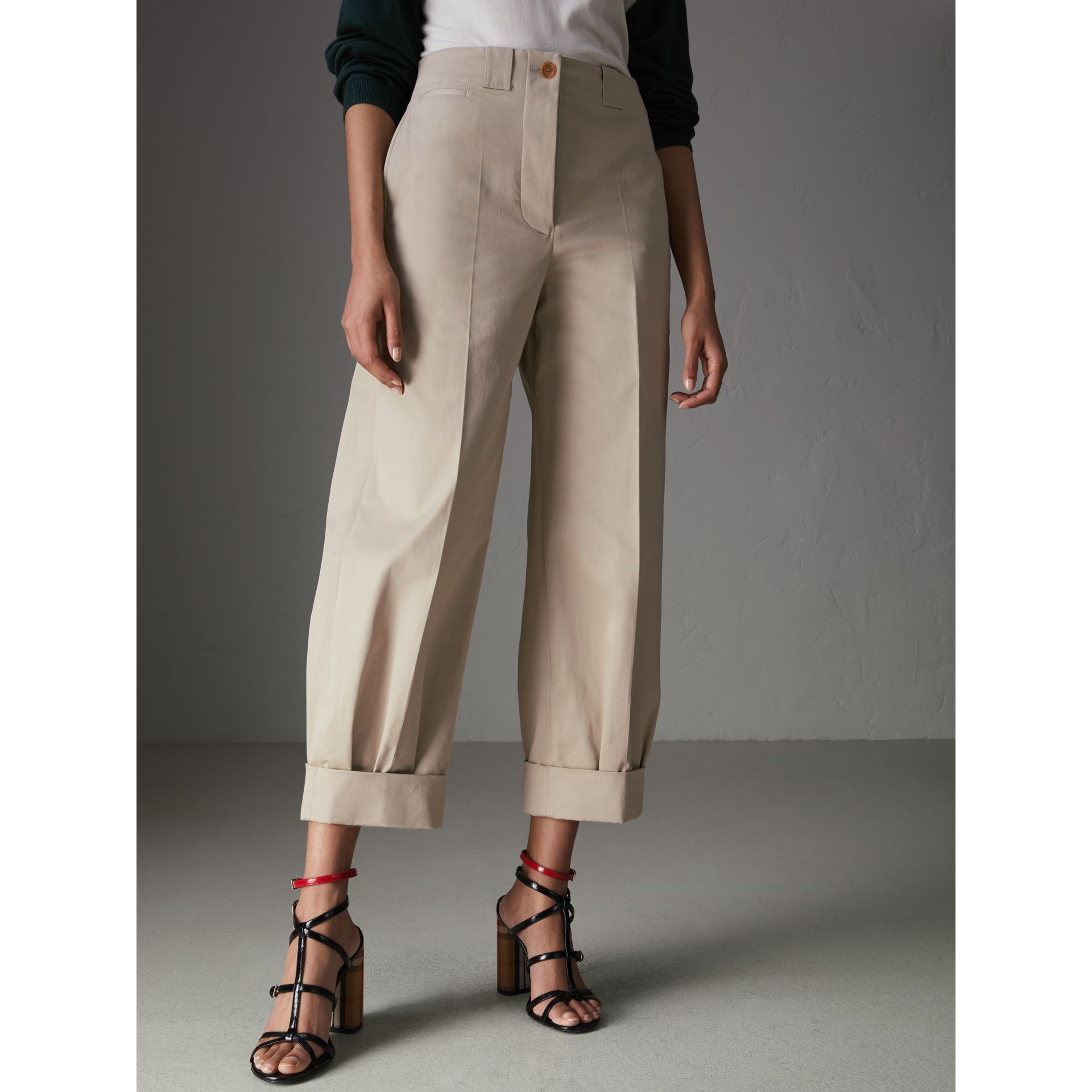 Stretch Cotton Cropped Trousers in Stone - Women | Burberry - gallery image 4