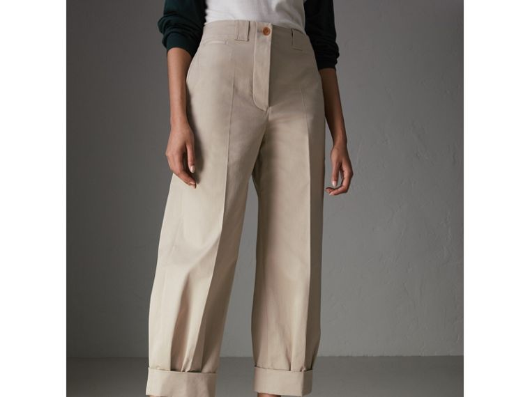 Stretch Cotton Cropped Trousers in Stone - Women | Burberry - cell image 4