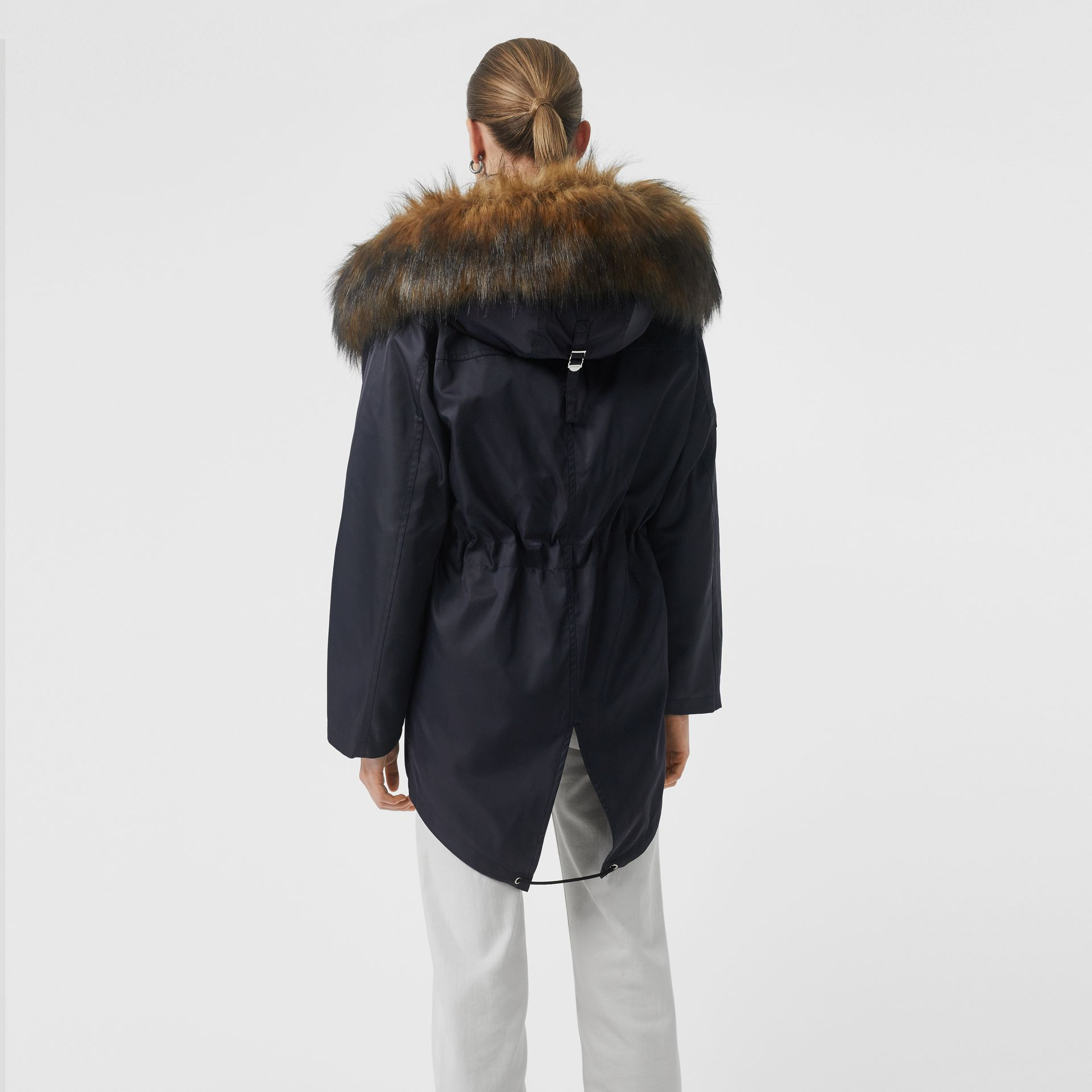 Faux Fur Trim Parka with Detachable Warmer in Dark Navy - Women | Burberry - gallery image 2