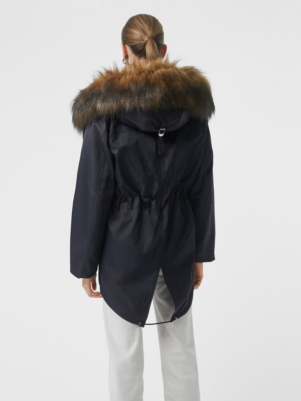 Faux Fur Trim Parka with Detachable Warmer in Dark Navy - Women | Burberry - cell image 2
