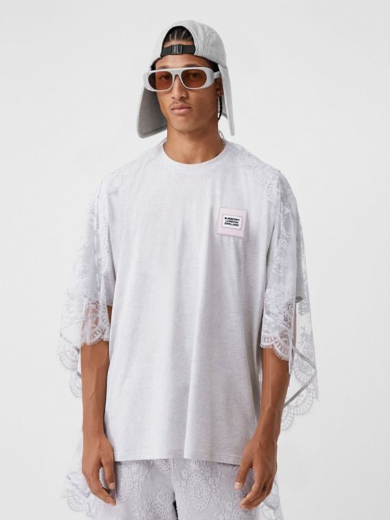 Chantilly Lace Cape Detail Cotton Oversized T-shirt in Porcelain
