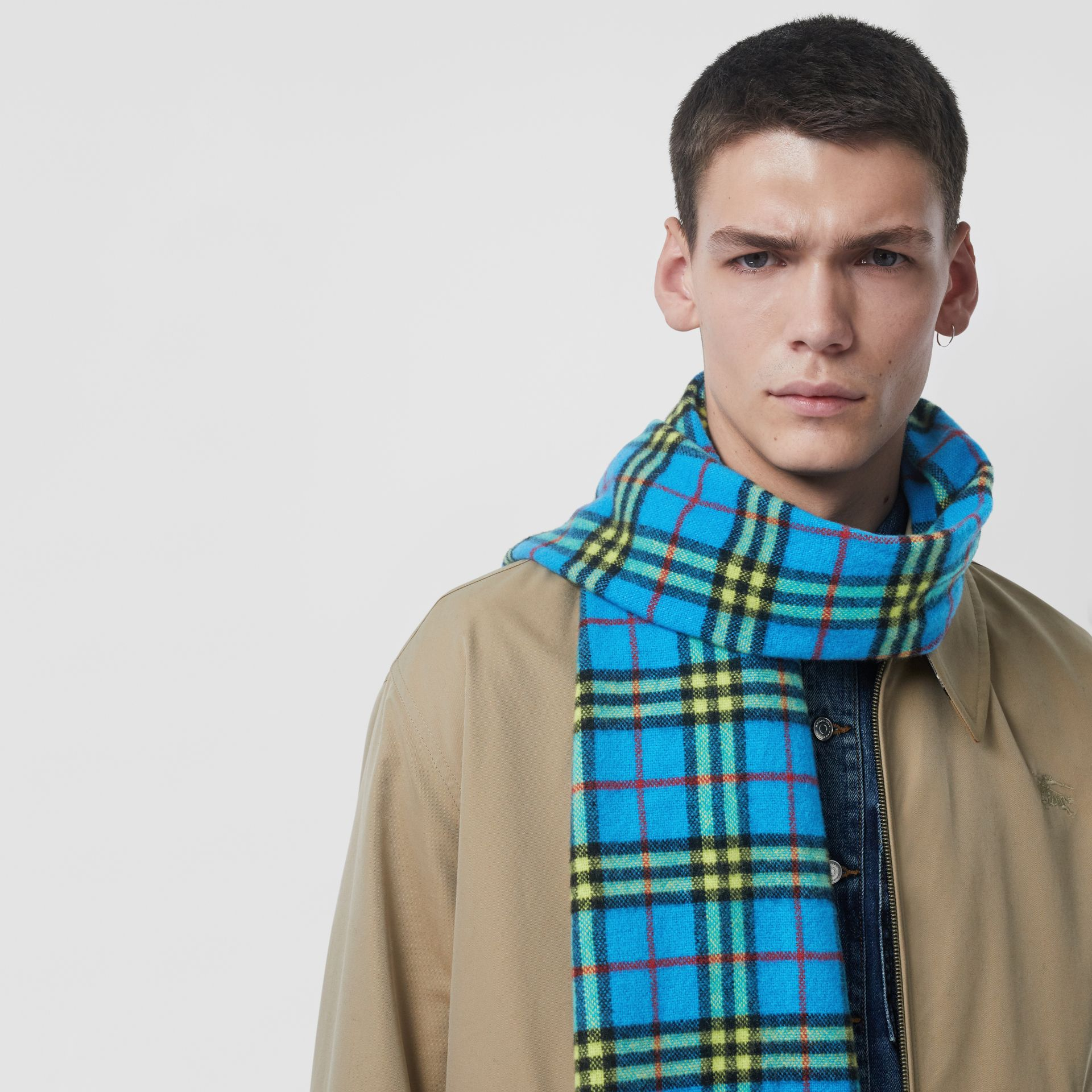 Check Cashmere Scarf in Bright Sky Blue | Burberry - gallery image 6