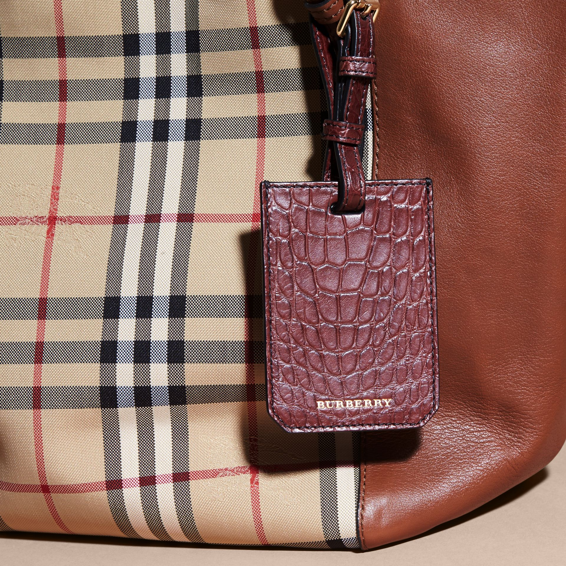 Alligator Luggage Tag in Deep Claret | Burberry - gallery image 5