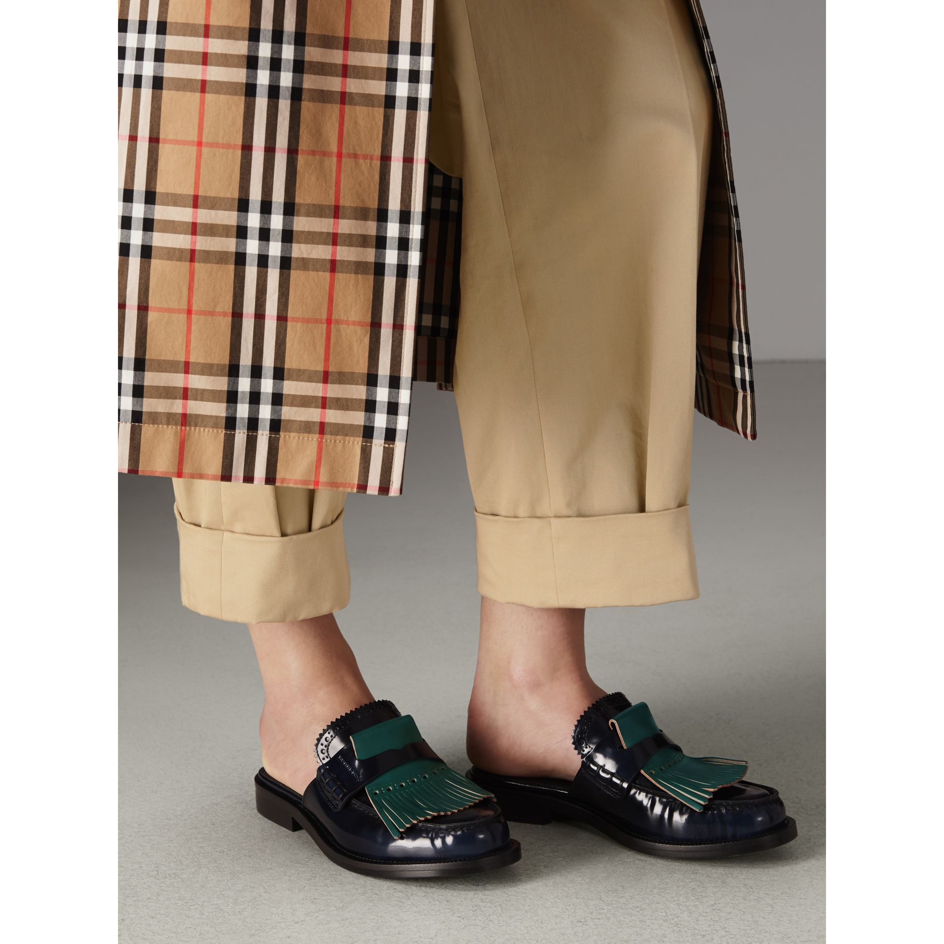 Contrast Kiltie Fringe Leather Mules in Navy - Women | Burberry Canada - gallery image 2