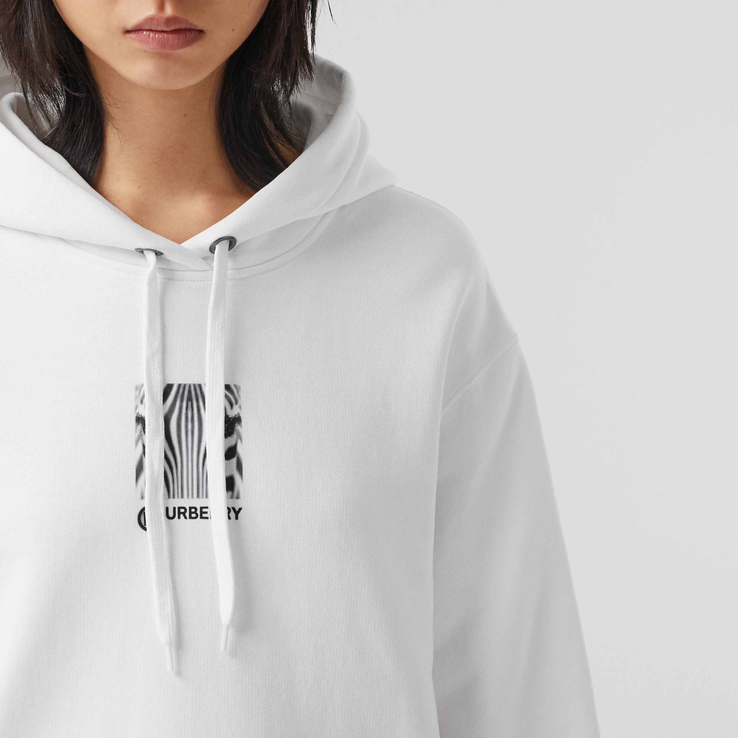 Montage Print Cotton Oversized Hoodie in White - Women | Burberry - 2