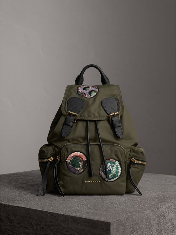 The Medium Rucksack in Technical Nylon with Pallas Heads Appliqué in Canvas Green
