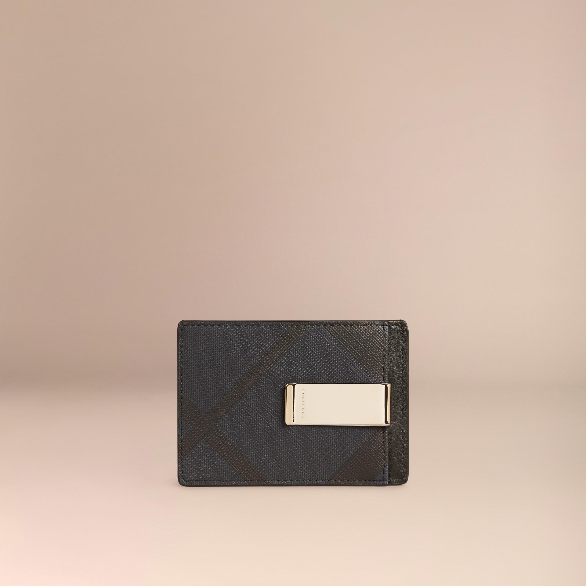 London Check Money Clip Card Case Navy/black - gallery image 2