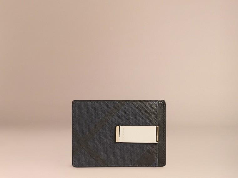 London Check Money Clip Card Case Navy/black - cell image 1