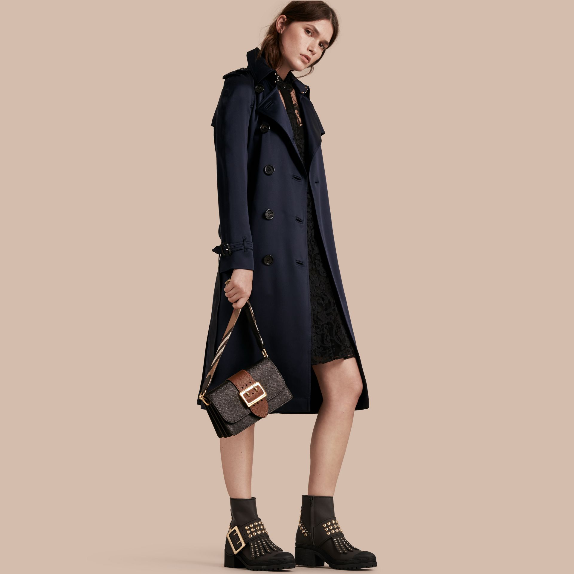 Navy Silk Trench Coat - gallery image 1