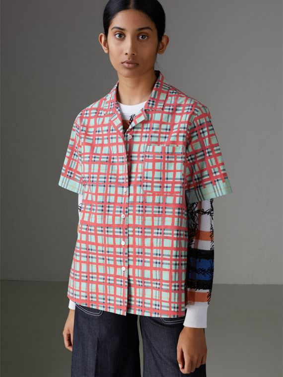 Short-sleeve Check Cotton Shirt in Bright Aqua - Women | Burberry Canada - cell image 3