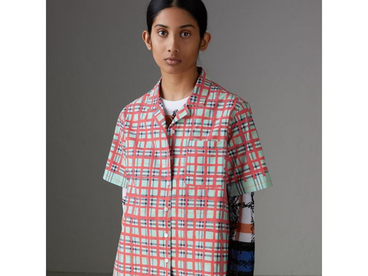 Short-sleeve Check Cotton Shirt in Bright Aqua - Women | Burberry United Kingdom - cell image 4
