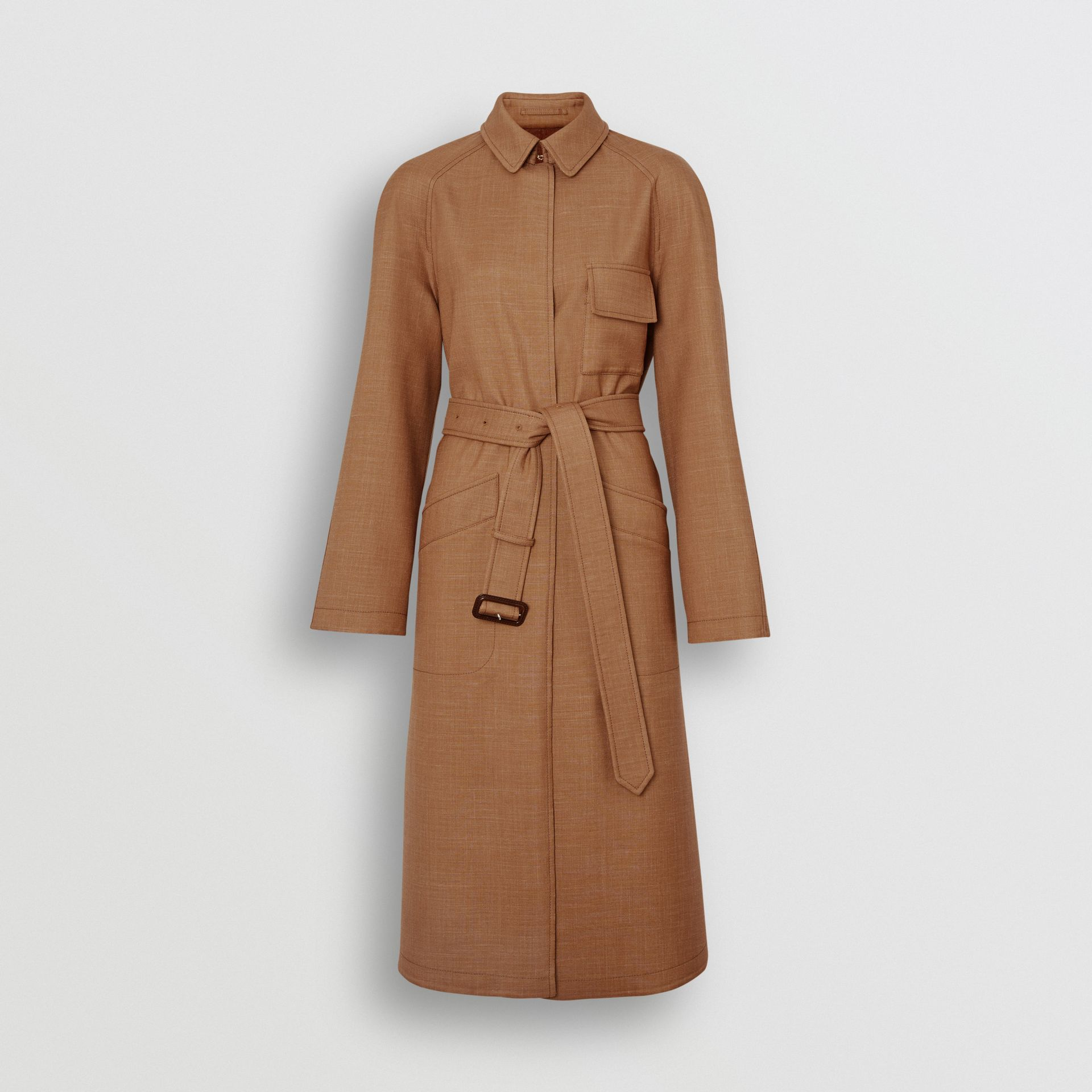 Bonded Wool Silk Mohair Linen Car Coat in Bronze - Women | Burberry United Kingdom - gallery image 3