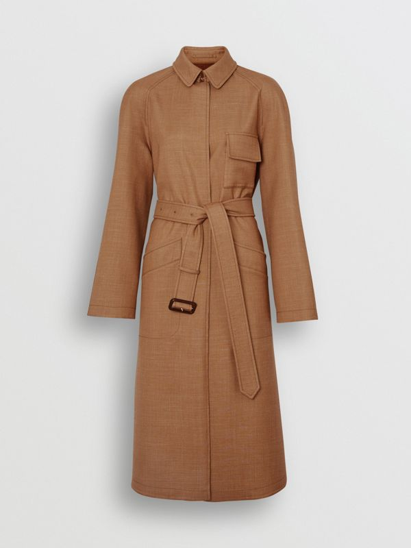 Bonded Wool Silk Mohair Linen Car Coat in Bronze - Women | Burberry Australia - cell image 3