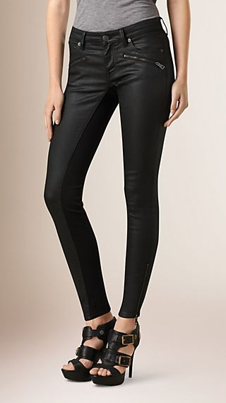Skinny Fit Low-rise Coated Jeans