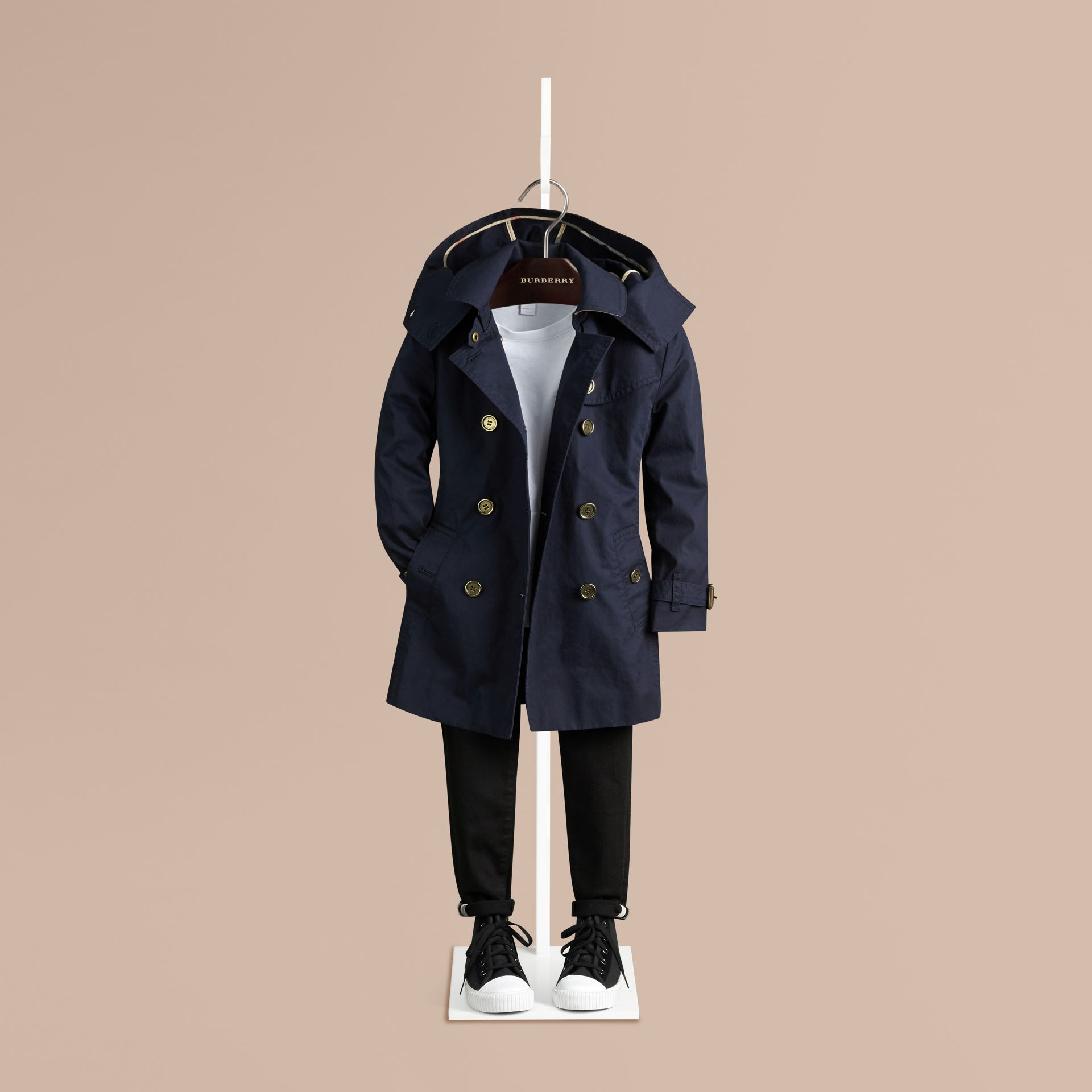 Navy Cotton Twill Trench Coat With Detachable Hood - gallery image 1