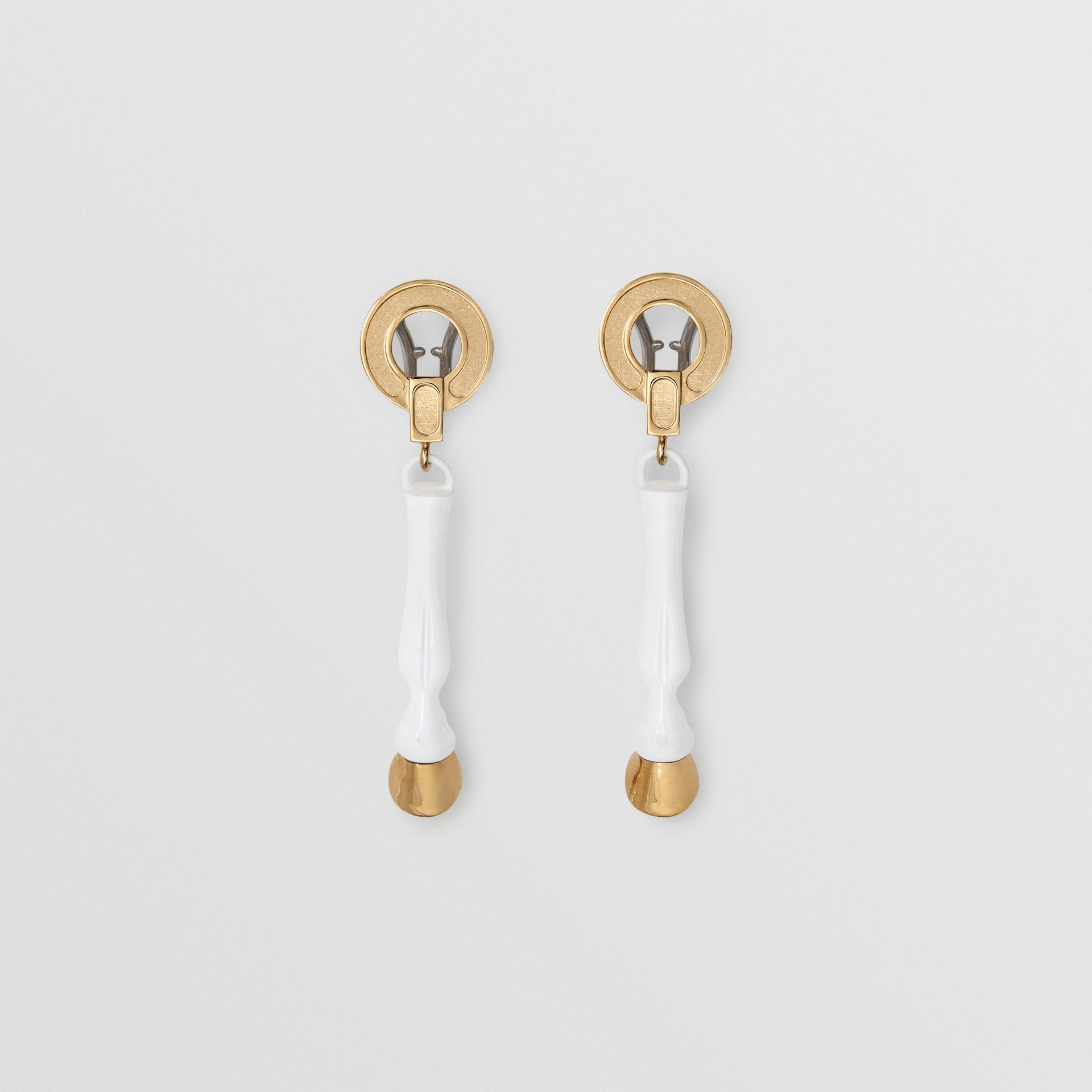 Resin and Gold-plated Hoof Drop Earrings in White/light - Women | Burberry - gallery image 0