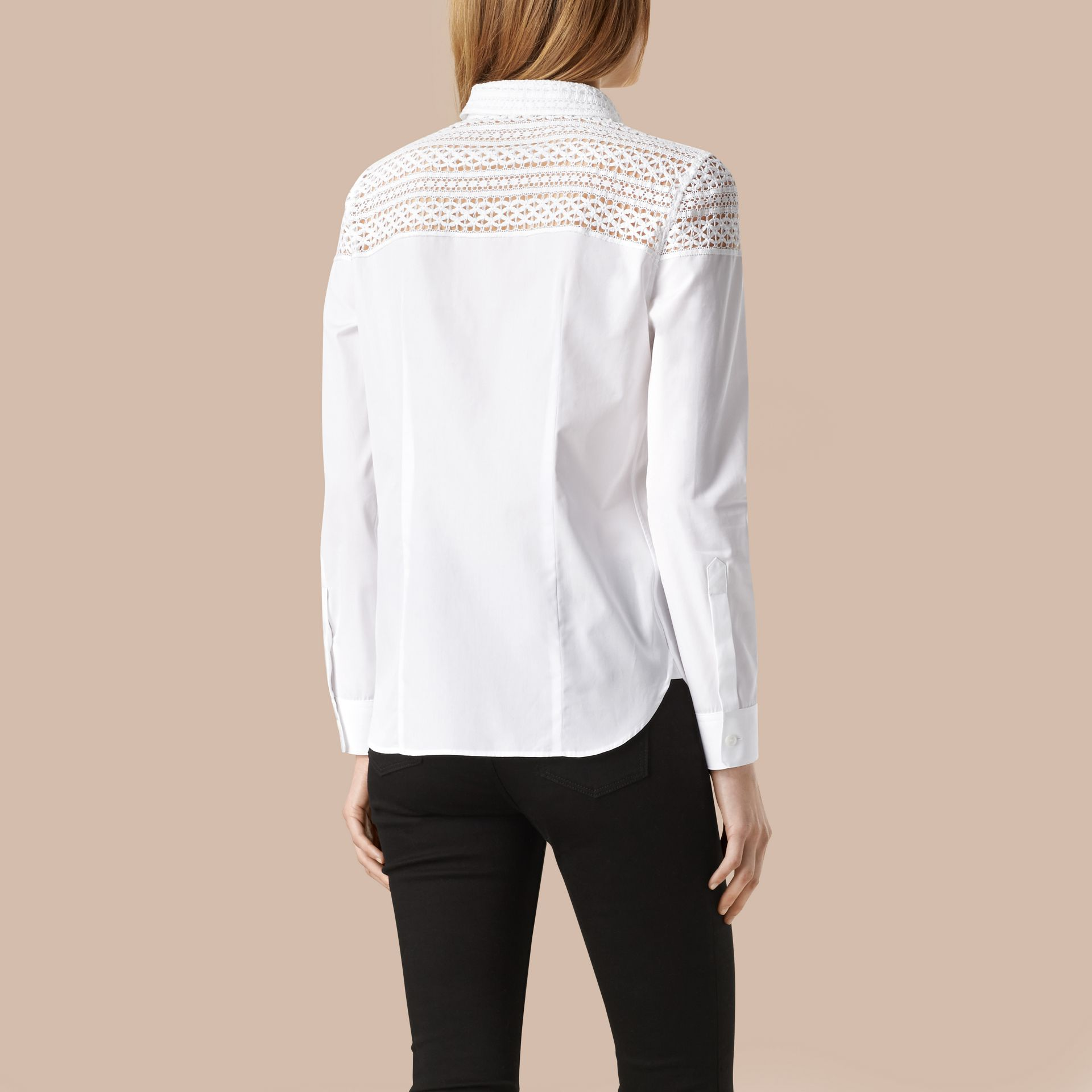 White Macramé Lace Detail Cotton Shirt - gallery image 3