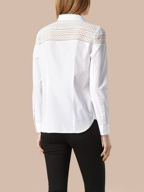 White Macramé Lace Detail Cotton Shirt - cell image 2
