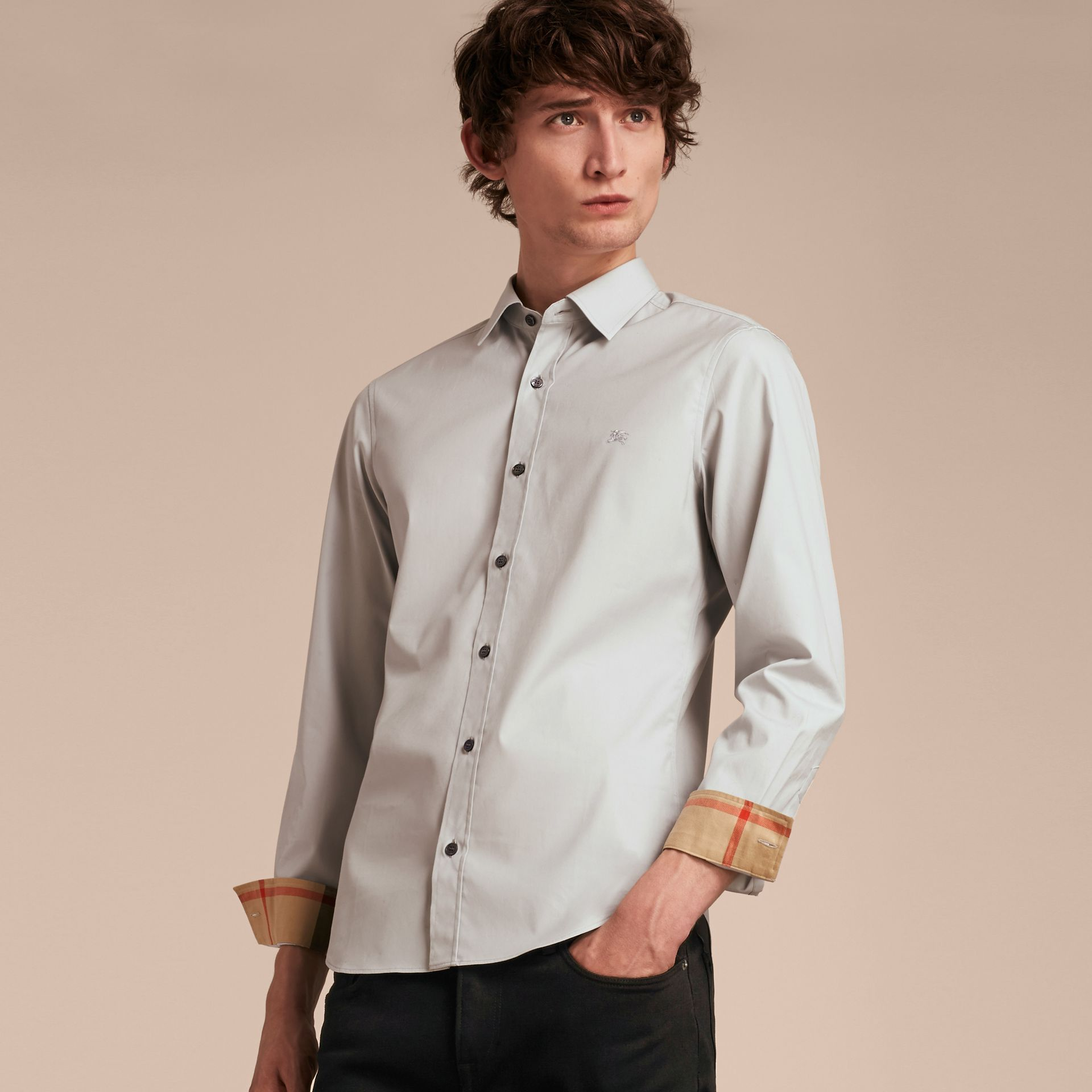 Check Detail Stretch Cotton Poplin Shirt Pale Grey - gallery image 6