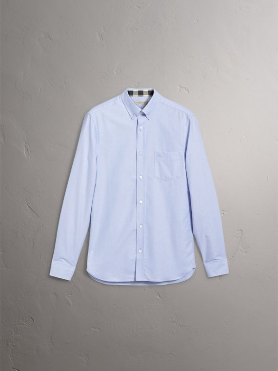 Check Detail Cotton Oxford Shirt in Cornflower Blue