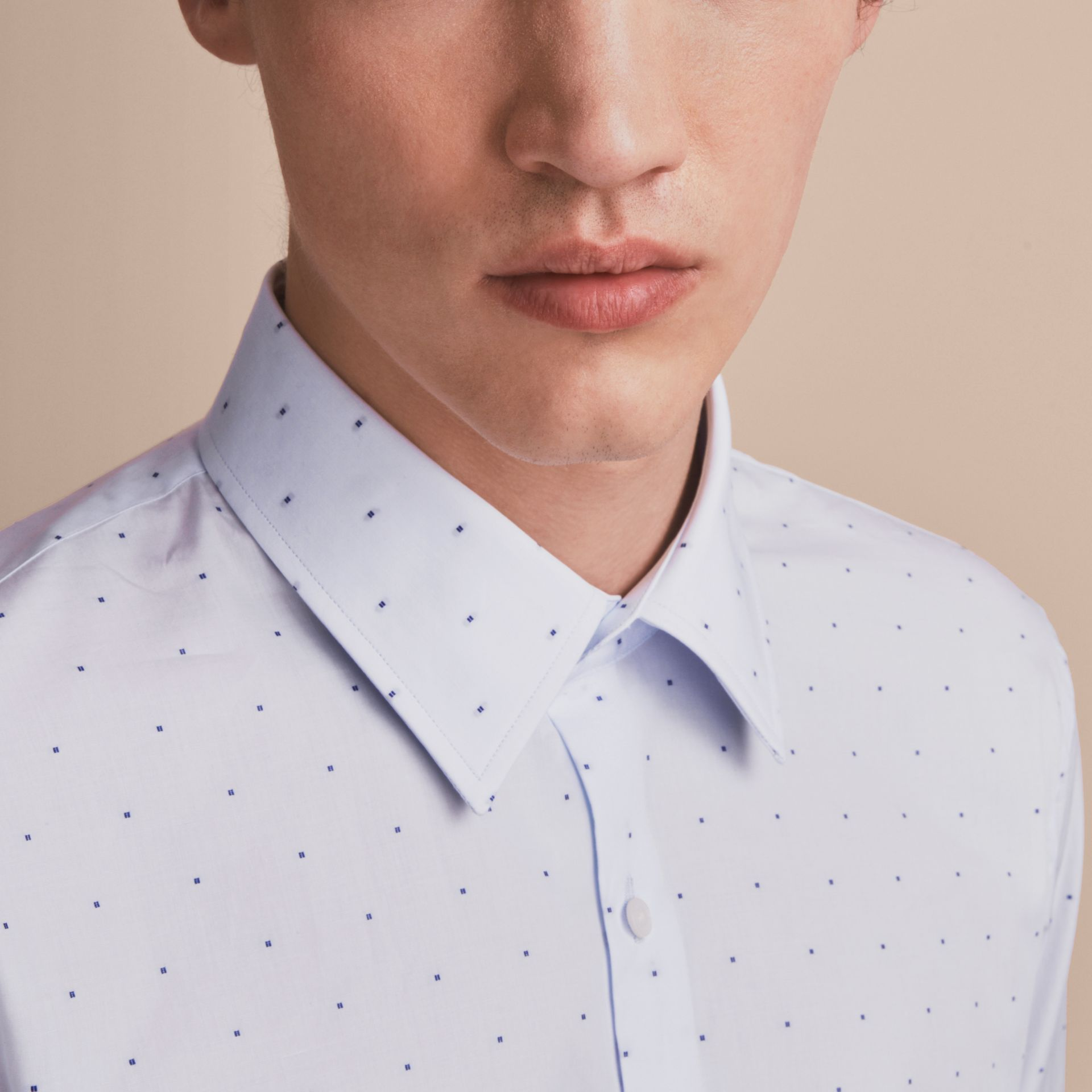 Slim Fit Dot Fil Coupé Cotton Poplin Shirt in Light Blue - Men | Burberry - gallery image 5