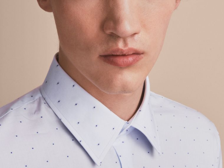 Slim Fit Dot Fil Coupé Cotton Poplin Shirt in Light Blue - Men | Burberry - cell image 4