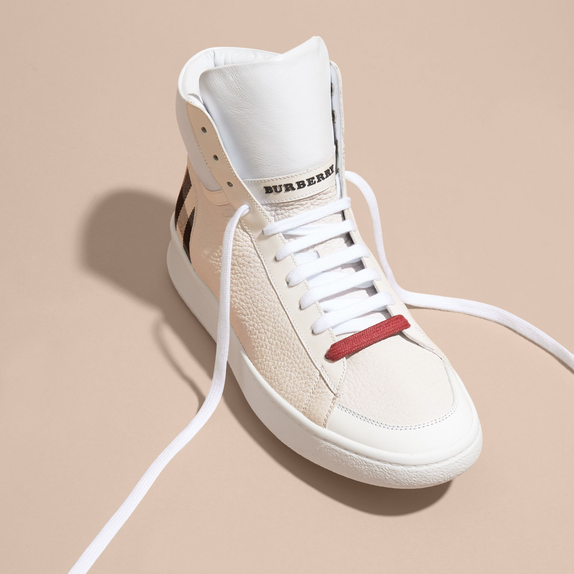 Check Detail Leather High-top Trainers in House Check/optic White - gallery image 3