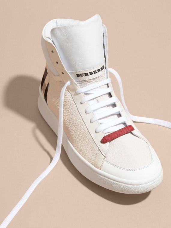 Check Detail Leather High-top Trainers in House Check/optic White - cell image 2