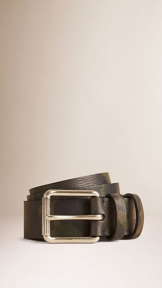 Camouflage Print Grainy Leather Belt