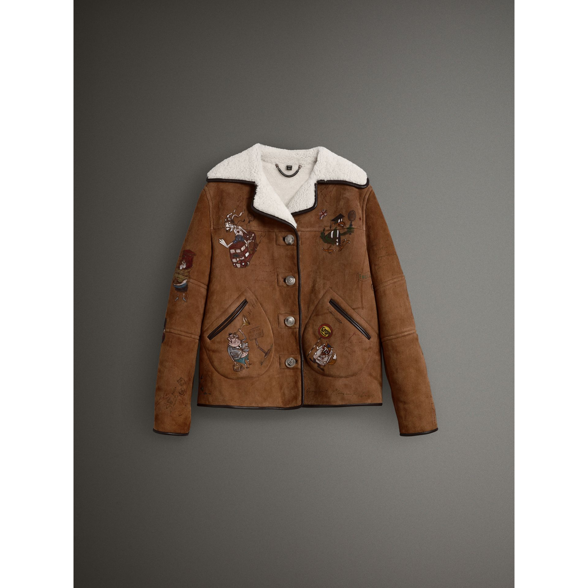Sketch Print Shearling Jacket in Caramel - Women | Burberry - gallery image 3