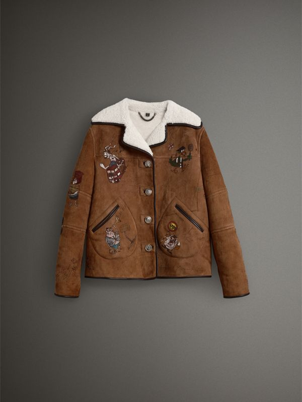 Sketch Print Shearling Jacket in Caramel - Women | Burberry - cell image 3