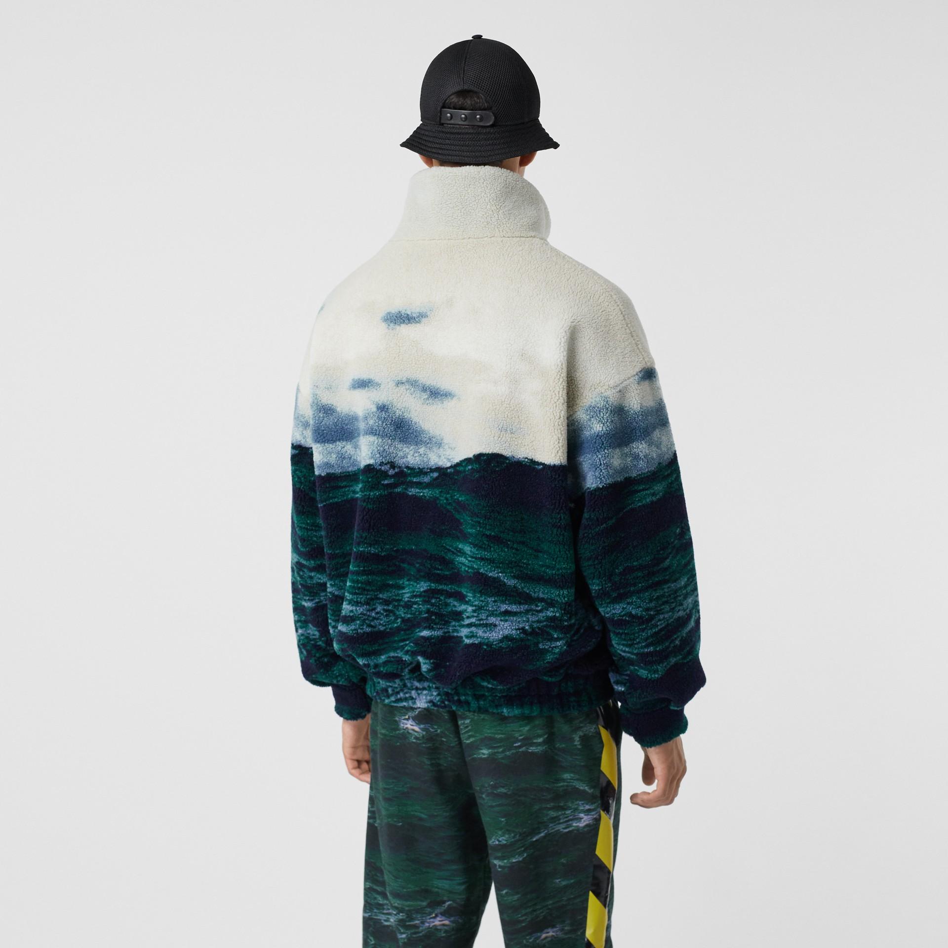Sea Print Fleece Jacket with Detachable Warmer in Deep Teal - Men | Burberry - gallery image 2