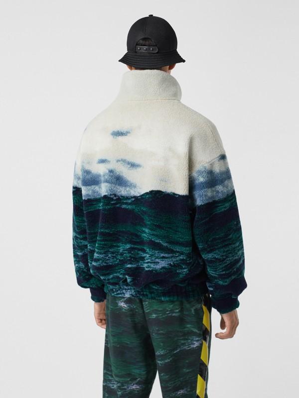 Sea Print Fleece Jacket with Detachable Warmer in Deep Teal - Men | Burberry - cell image 2